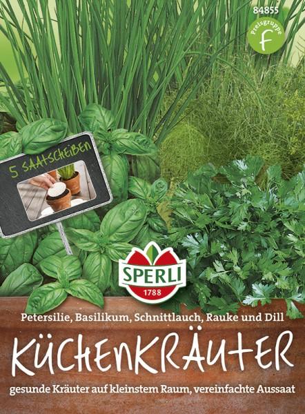 SPERLI Küchenkräuter 'Petersilie, Basilikum, Schnittlauch, Rauke und Dill'- Saatscheibe